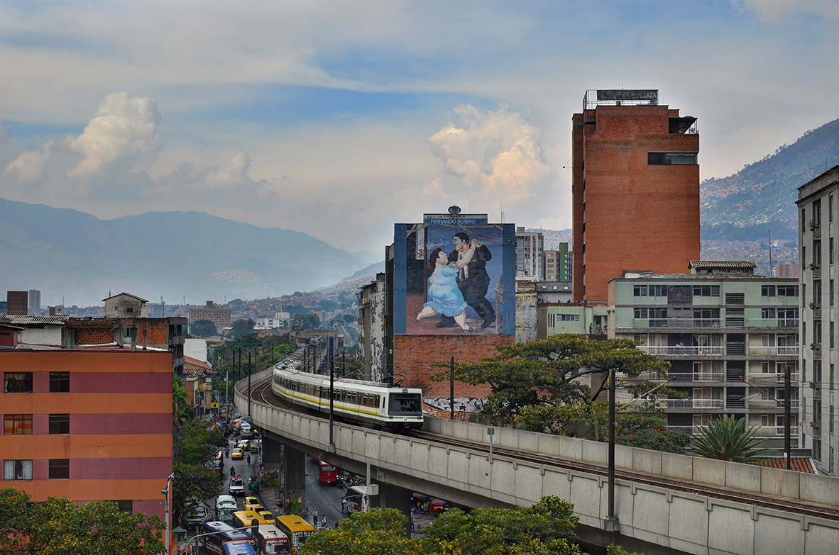 This image was take by the phtographer Joel Duncan. The image shows the Metro in Medellin Colombia