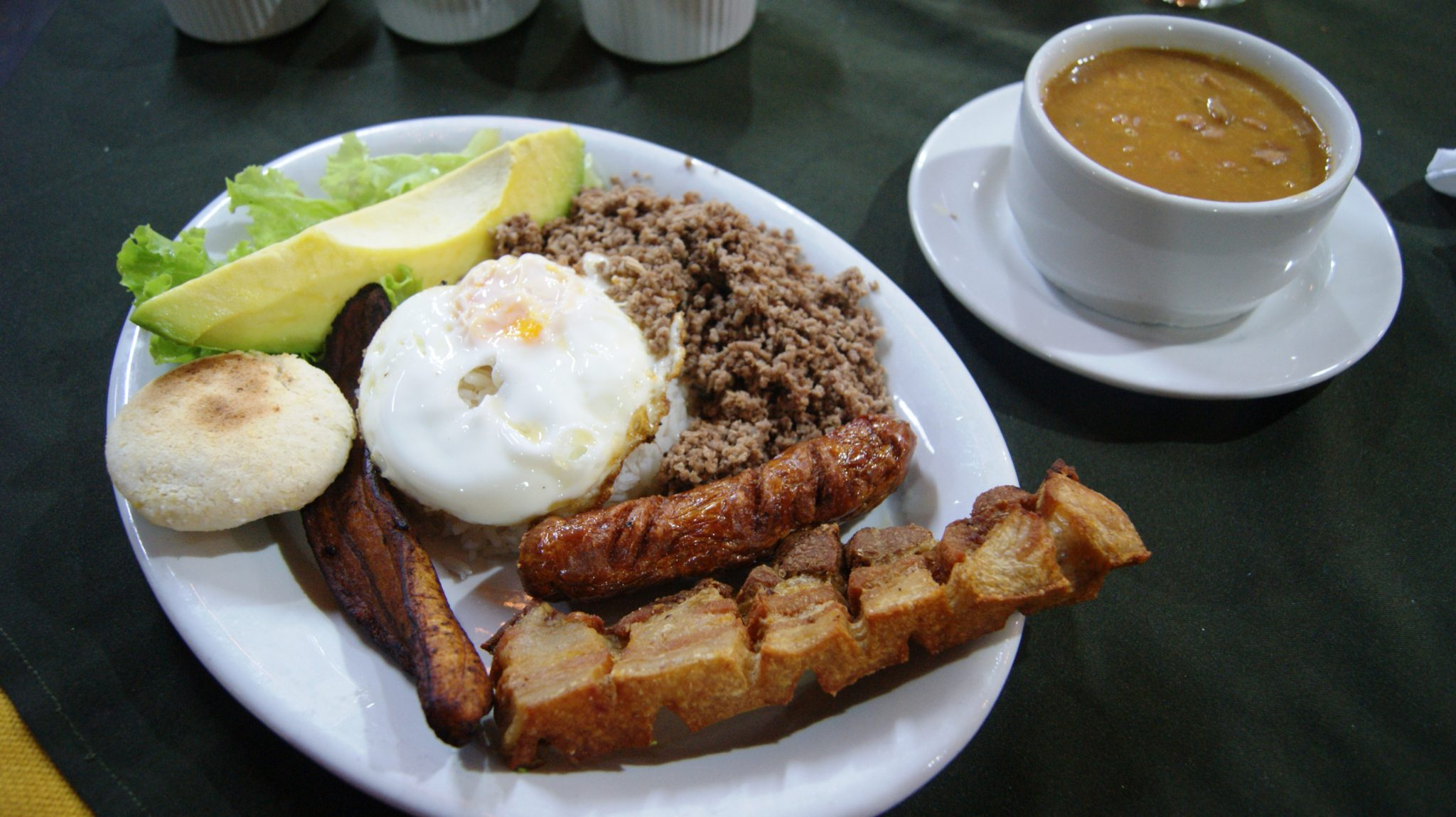 This is an image of the national dish, the Bandeja Paisa.