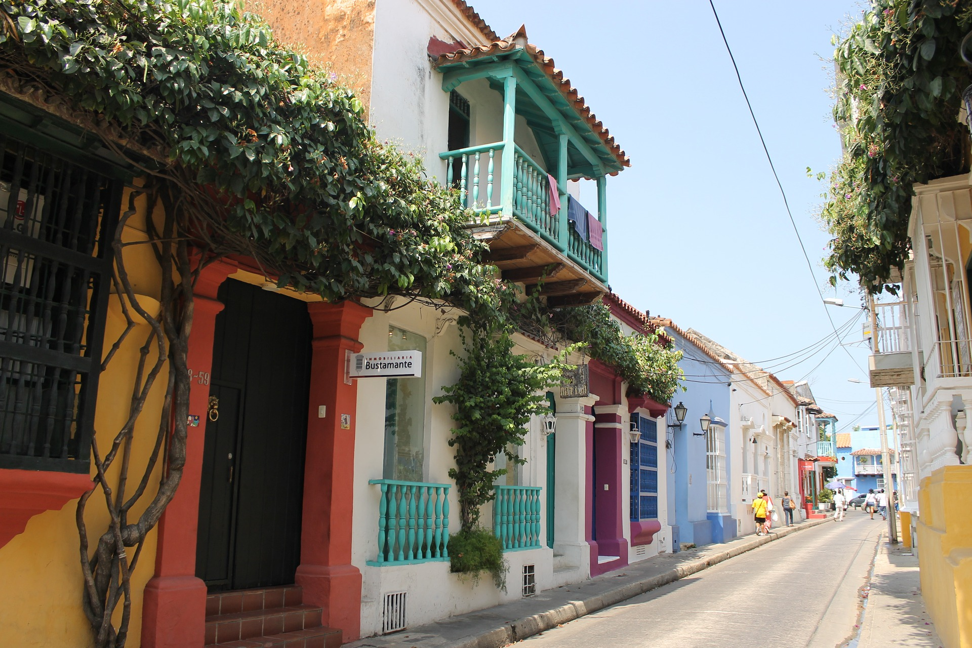 An image of a street in Old Town Cartagena