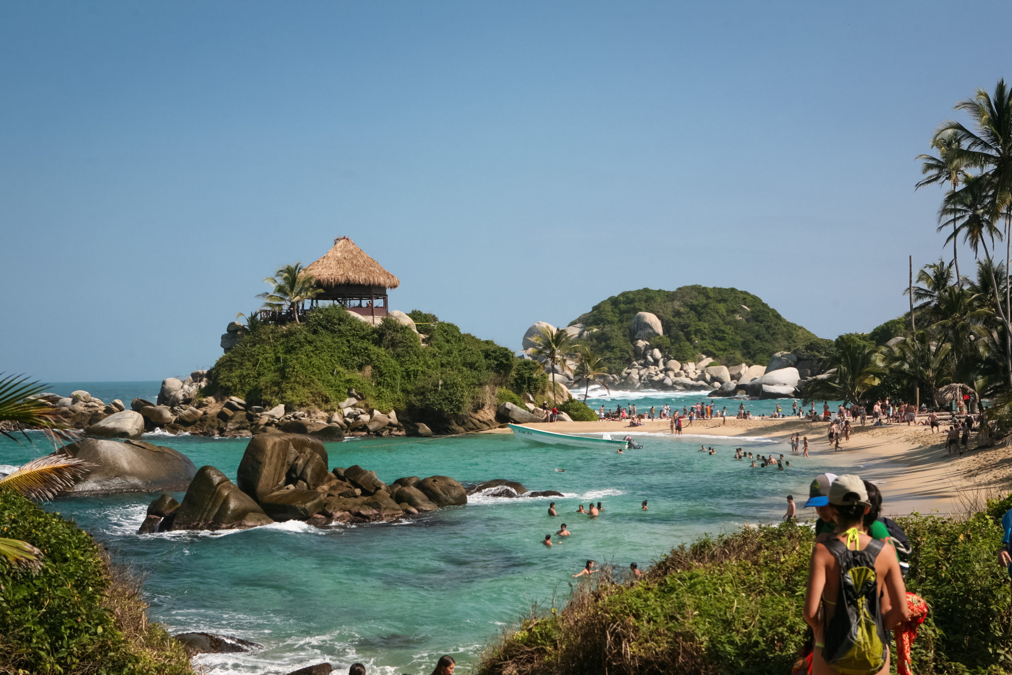 This is an image of the shore at the beach in Parque Tayrona