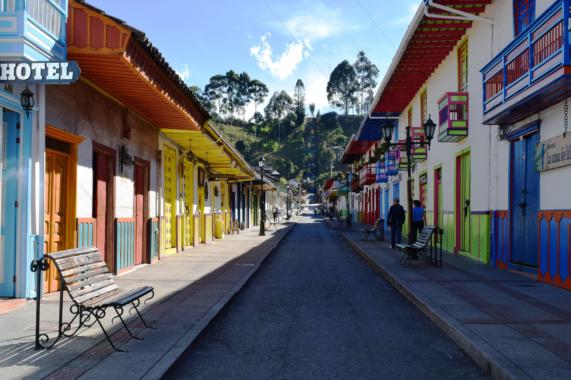 This is an image of the small pueblo called Salento, in the Quindio department of Colombia